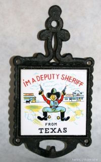 Vintage Deputy Sheriff TX Ceramic Tile Cast Iron Trivet