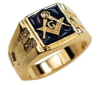 Masonic Mens Ring Blue CZ Ring Lodge 14k Gold Overlay Size 13