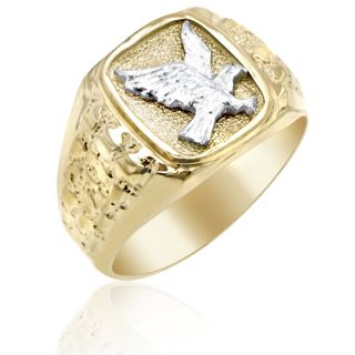 Mens 14k Yellow Gold Ring Accented w WG Eagle Design