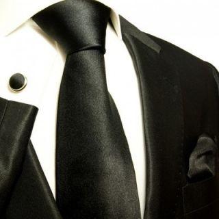 952CH Solid Satin Black Paul Malone Silk Necktie with Hanky Cufflinks