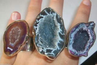 Big Mammoth Cave Lava Druzy Quartz Nature Rock Silver Adjustable Rings