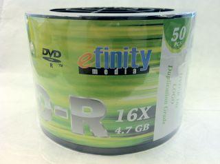 50 Pieces Efinity 16x Logo DVD R DVDR Blank Disc Media 4 7GB