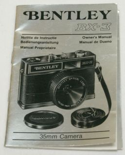 Genuine Bentley BX 3 35mm Camera Instruction Manual