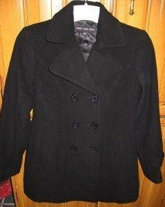 Marc New York Pea Coat 6 Black Ladies Wool Cashmere