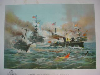 Large Print SPANISH AMERICAN WAR MANILA BAY NAVAL BATTLE 1898 Chromo