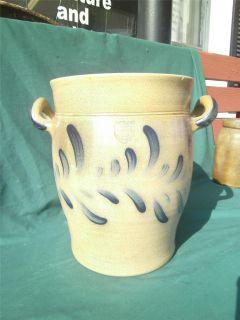 Floral Design Flower Pot Maple City Pottery Crock Cobalt Blue Monmouth