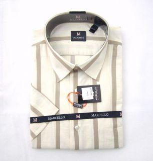 New Marcello Beige Striped s s Shirt XL $175