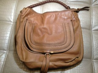 Chloe Marcie Calfskin Large Hobo Bag handbag camel brown leather Italy