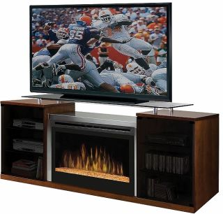 Dimplex Marana Electric Fireplace Media Console Cherry Glass Fire Bed
