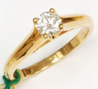 18K Gold Solitaire Diamond Ring 0 39 Carat