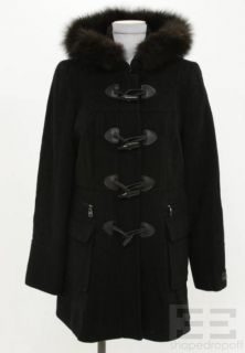 Marc New York Andrew Marc Black Wool Leather Toggle Dyed Blue Fox Coat