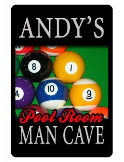 Personalized MAN CAVE Sign Printed w YOUR NAME Custom Sign Pool Room