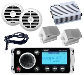 Marine Indash Am FM Radio Stereo System with 4 Enrock Speakers 400W