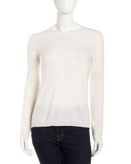 Long Sleeve Cashmere Crewneck Sweater Ivory
