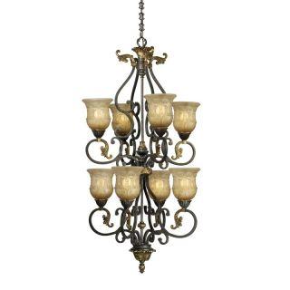 Chandelier Lighting Fixture Walnut Bronze Patina Margaux Glass