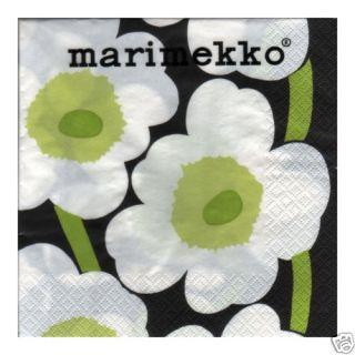 Marimekko Unikko Black Green Paper Napkins 33 x 33 Cm