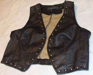 NEW FAUX LEATHER STUDDED VEST, BIKER, ROCK & ROLL LADIES Size Large