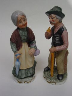 Norleans Bisque Figurines Old Man and Old Woman 6 3 4 Tall