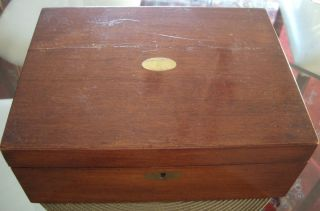 Antique Mahogany Victorian Lap Desk 1886 126 Years Old Great