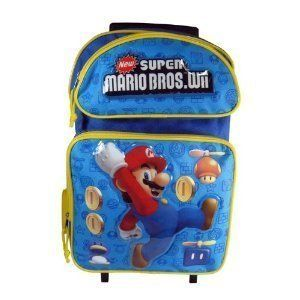 Super Mario Bros Wii Large Rolling Backpack Bag Tote Luggage Blue