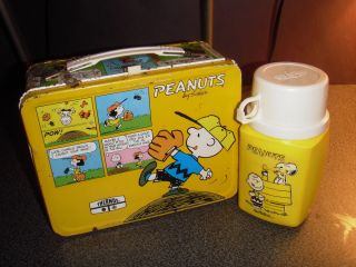 Vintage 1965 Peanuts Snoopy and Charlie Brown Metal Tin Lunchbox w