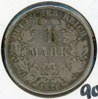 1876 H Germany 1 Mark Silver Coin JA871