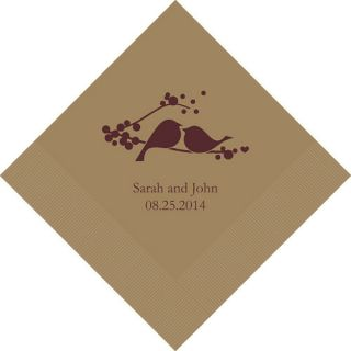 100 Personalized Wedding Love Birds Printed Beverage Paper Napkins