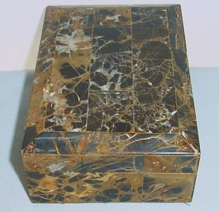 Vintage ITALIAN Marble BOX with Wood INTERIOR for JEWELRY or TREASURES