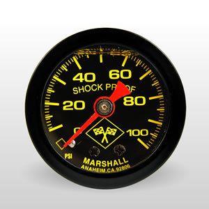 MARSHALL 0 100 PSI BLACK FACE LIQUID FILLED FUEL PRESSURE GAUGE
