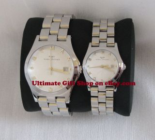 SET OF 2 MARC JACOBS SILVER TONE S/STEEL HIS & HERS HENRY WATCHES