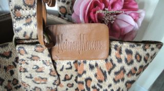 Neiman Marcus Stylish Luxe Leopard Print Tote Bag Handbag New