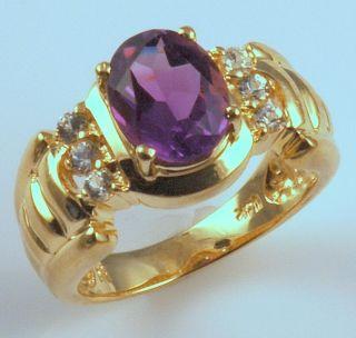 14k Gold Amethyst White Sapphires Ring Vintage