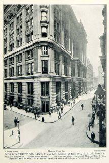 1903 Print Morton Trust Mutual Life 38 Nassau Liberty Street Scene