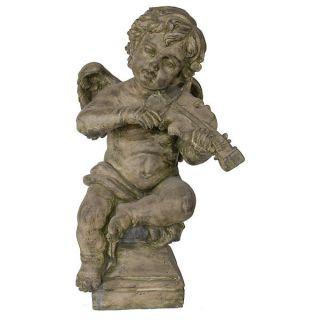 Cherub with Violin Statue Garden Statue Martelle New 29 5 Tall Angel