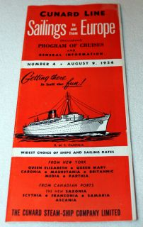 Cunard Line Steam SHIP Schedule to Europe Queen Mary Elizabeth