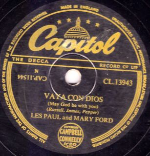Les Paul Mary Ford 78 Vaya Con Dios Capitol CL13943 EX