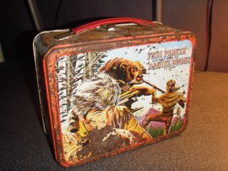 Vintage Fess Parker and DANIEL BOONE Metal Tin Lunchbox (Thermos