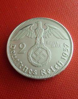 rare★★★★ 1937 E 2 Mark Silver German WWII Nazi Coin 3rd Reich