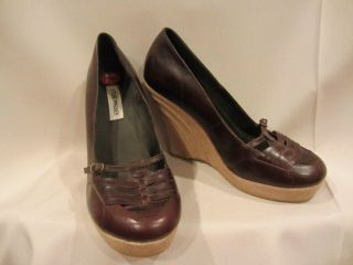 STEVE MADDEN Brown Leather Mary Jane Wedge Platfrom High Heels Mod