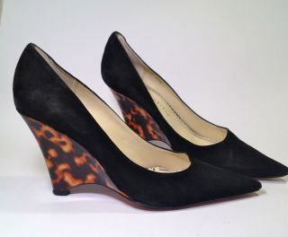 Martinez Valero Happy Black Suede WEDGE PUMPS w Tortoiseshell Heel Sz
