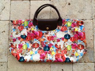 Authentic Longchamp Mary Katrantzou Large Travel Bag Lanterns Orchids