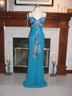 Mary L Couture Turquoise Cruise Party Gown Dress 4
