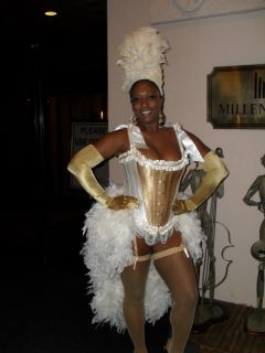 Mardi Gras Masquerade Burlesque Show Girl Corset Feather Costume Dress