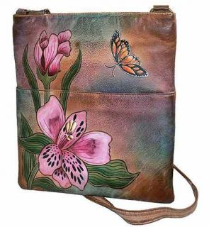 Sova Hand Painted Messenger Bag 3978 Lily Flower Art 12 5 H x11 w