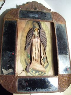 Folk Art MARY Shadow Box Religious Rustic original Virgin Mary Statue