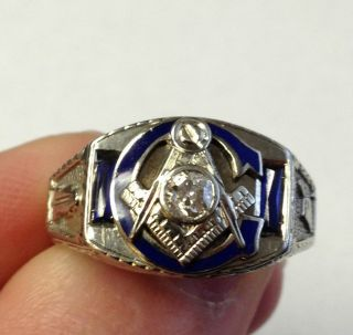 14k White Gold Diamond Sapphire Masonic Ring