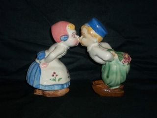 Vintage Kissing Dutch Boy and Girl Ceramic Figurines Made in Japan