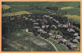 Massillon Ohio Postcard State Hospital Insane Asylum Aerial View