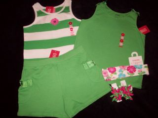 Gymboree Tennis Match Green Shorts 2 Tank Top Shirts Hair Curllies Set