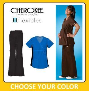 Cherokee Scrubs Flexibles Maternity Set Pants 2092 Tops 2892 New XS
